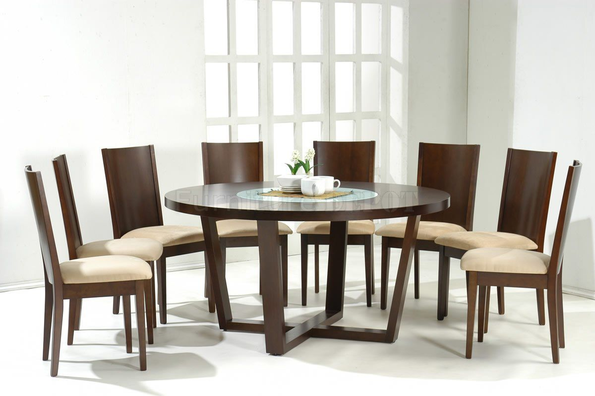 Round Dining Tables For 8+ | Dark Walnut Modern Round Dining Table W/Glass  Inlay