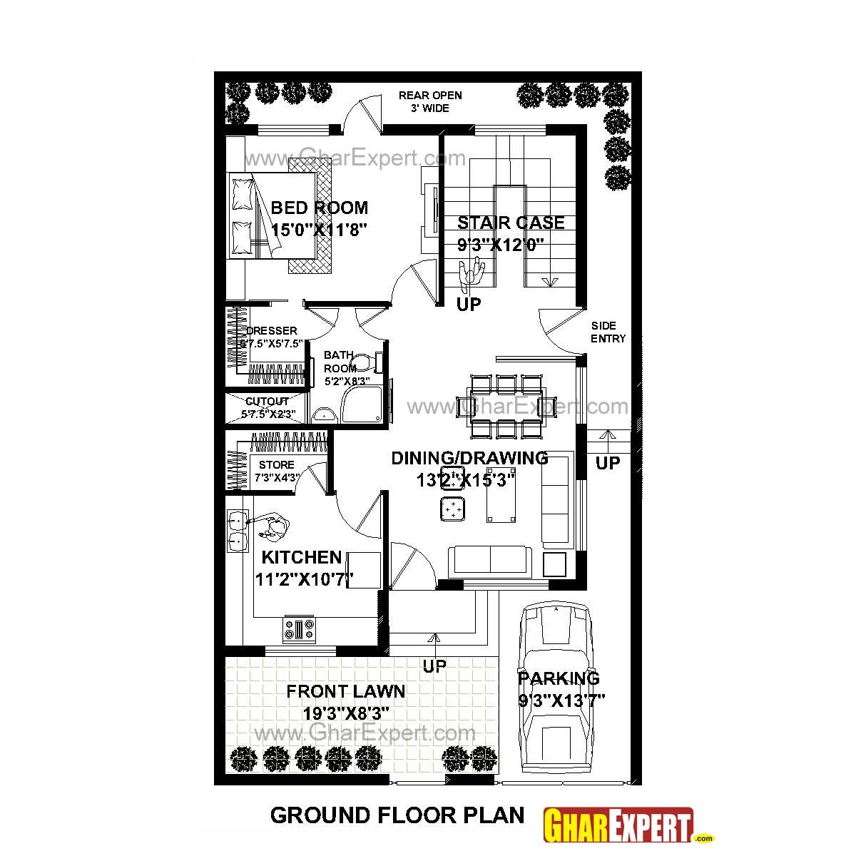 House Plan For 30 Feet By 50 Plot Size 167 Square Yards Unbelievable