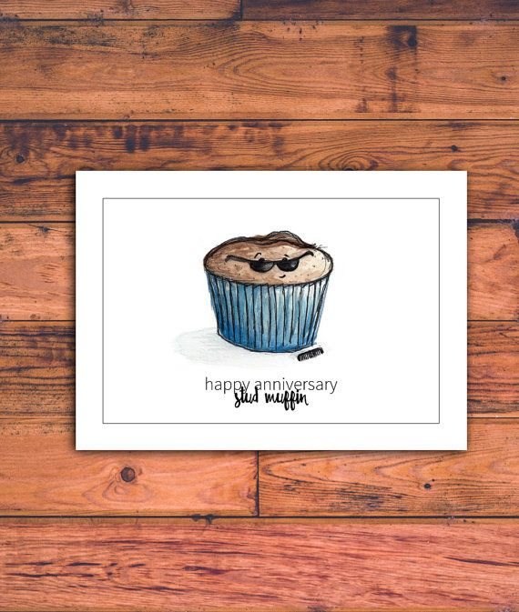 Printable Anniversary Card for Him, Stud Muffin, Funny Anniversary - printable anniversary cards