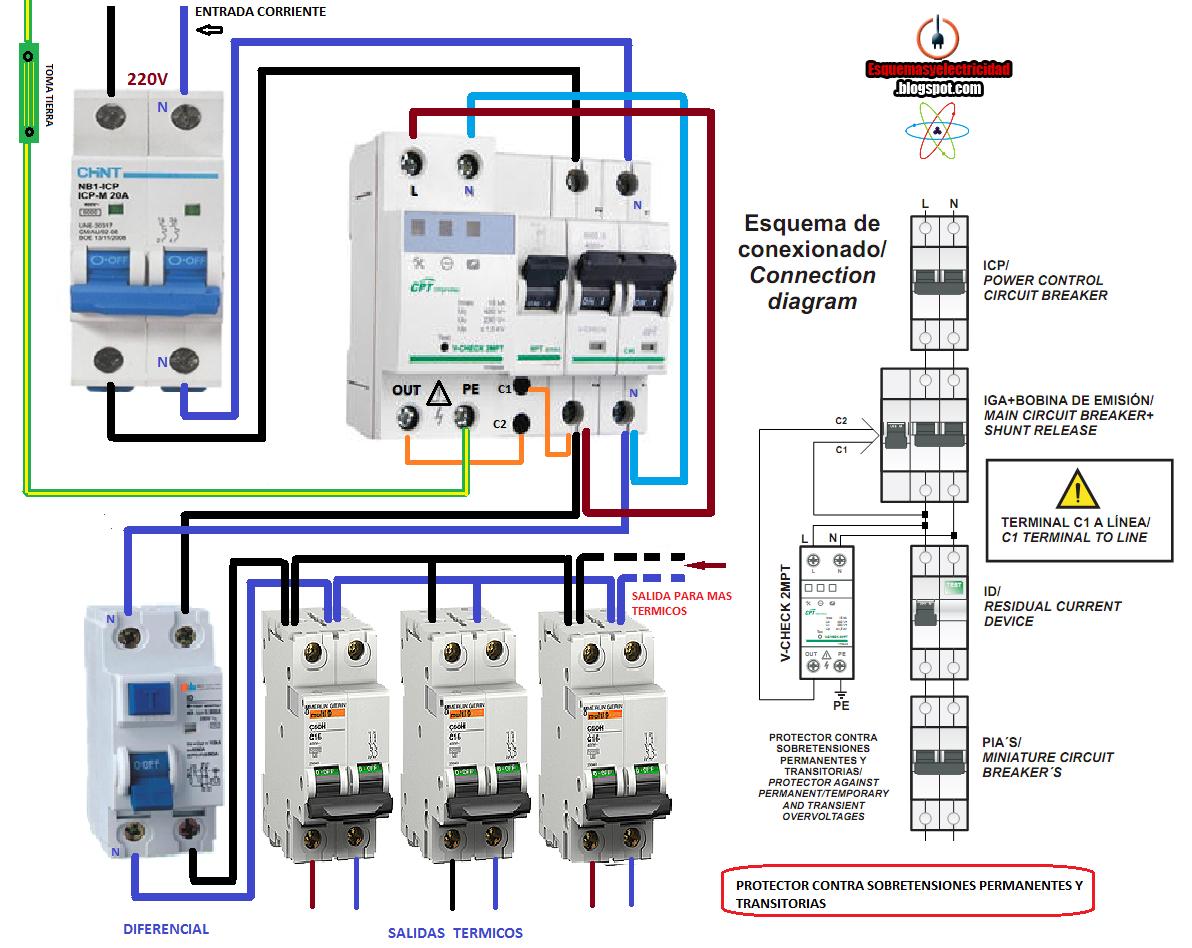 Esquemas eléctricos: COMO CONECTAR PROTECTOR CONTRA SOBRETENSIONES PERM...