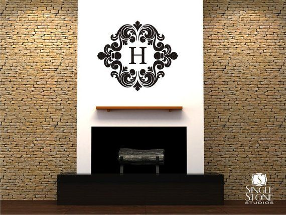 monogram wall decal baroque - vinyl text wall stickers art custom