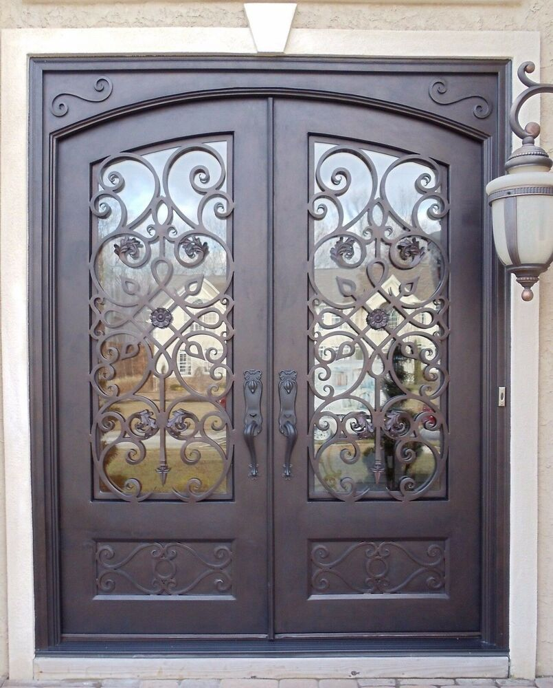 Glass Operable Glass Choices Clear Frost Rain Water Cubic Size 62 W X 96 H Iron Entry Doors Wrought Iron Entry Doors Wrought Iron Doors