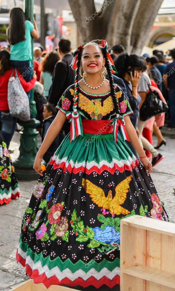 Puebla Mexico Oct 2016 Unidentified Woman Wears National
