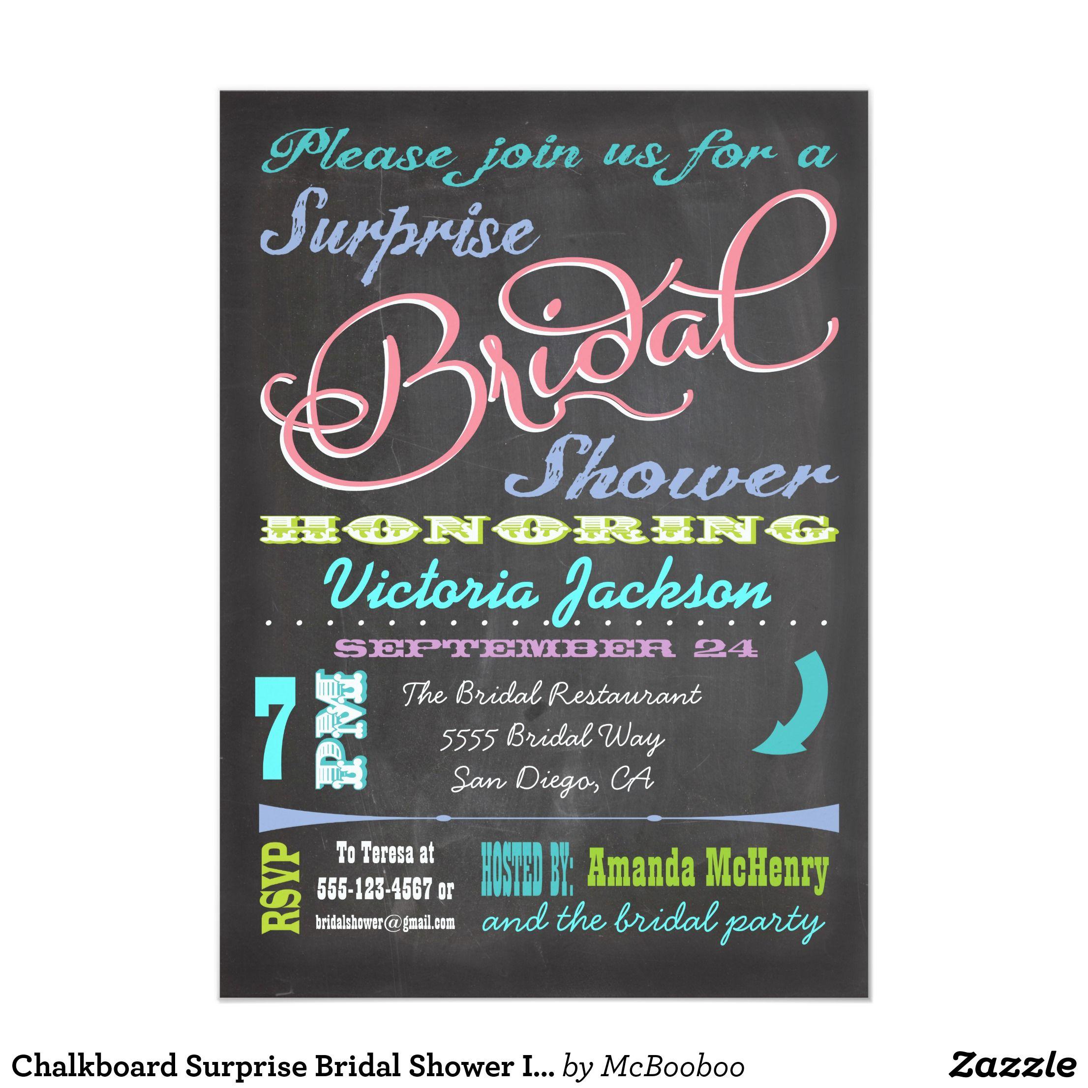 chalkboard surprise bridal shower invitations