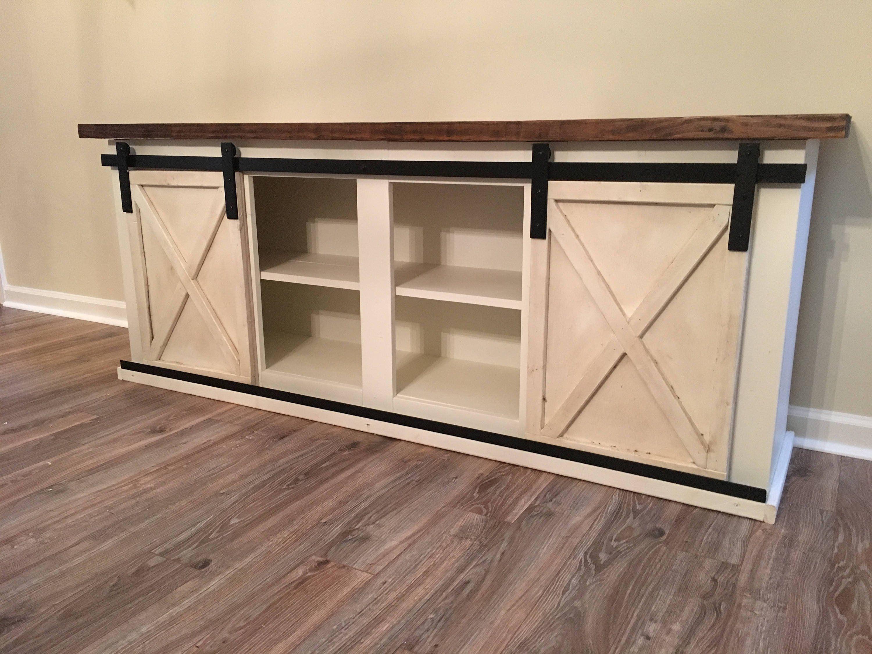 Custom sliding barn door cabinet entertainment center entry buffet console