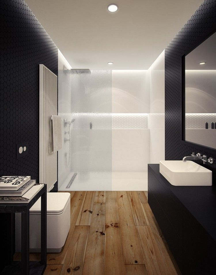 ebenerdige dusche mit glaswand in wei durch beleuchtung betont badezimmer pinterest. Black Bedroom Furniture Sets. Home Design Ideas