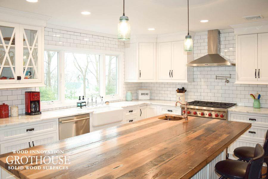 Reclaimed Chestnut Counter For Kitchen Island Https Www Glumber Com Wood Countertops Kitchen Island Wood Countertops Kitchen Wood Countertops