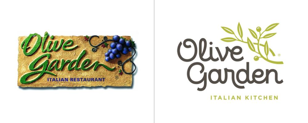 Before After Olive Garden S New Logo Olive Gardens Olive Garden Logo Logo Redesign