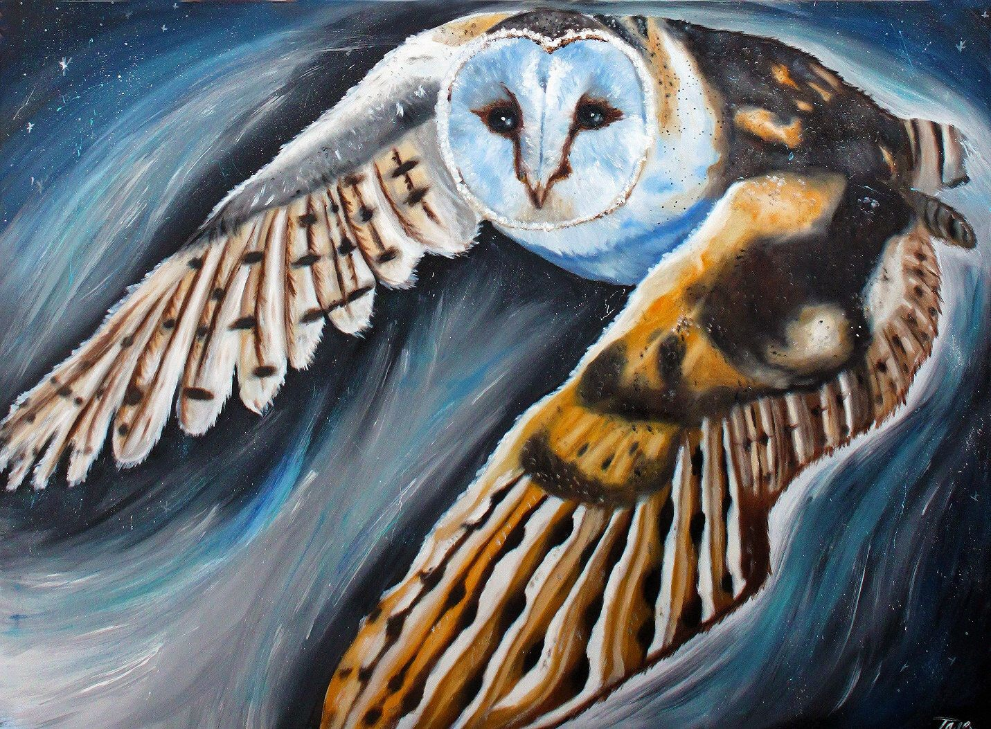 Fly The Wings Of The Owl Modern Canvas Oil Painting Wall Art Pictures Home Decor