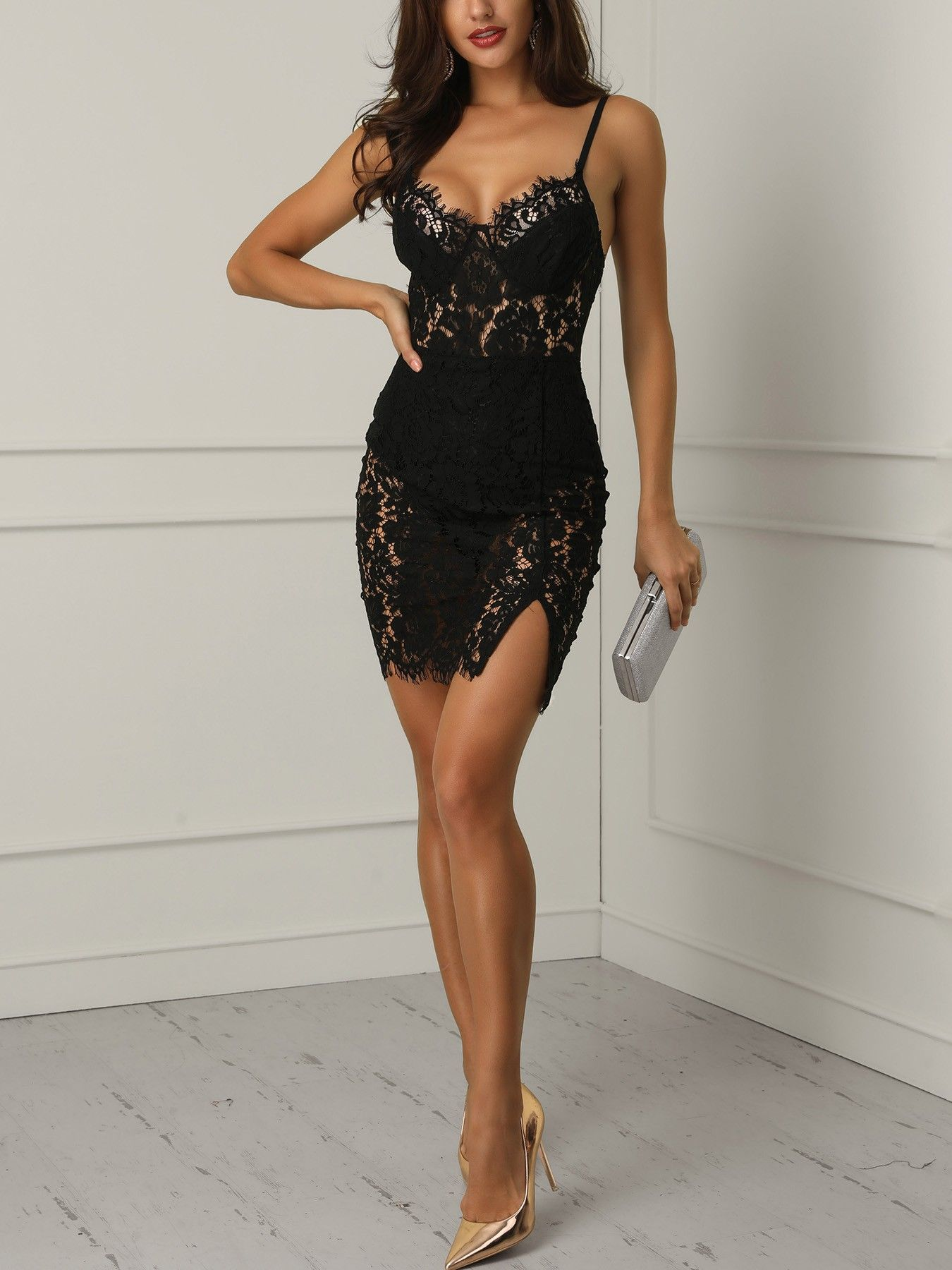 87ae76afc Eyelash Lace Crochet Side Slit Bodycon Dress