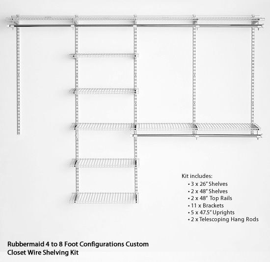 8 Foot Wire Shelving | Rubbermaid 4 To 8 Foot Configurations Custom Closet Wire Shelving