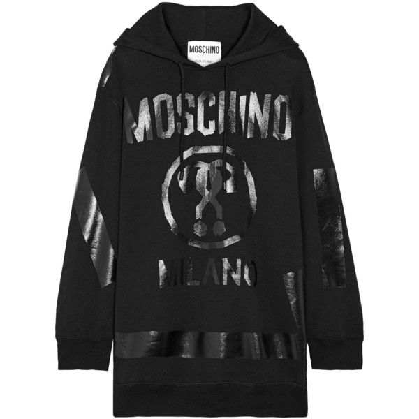 3355722b07b055 Moschino Oversized printed cotton-jersey hooded top (40