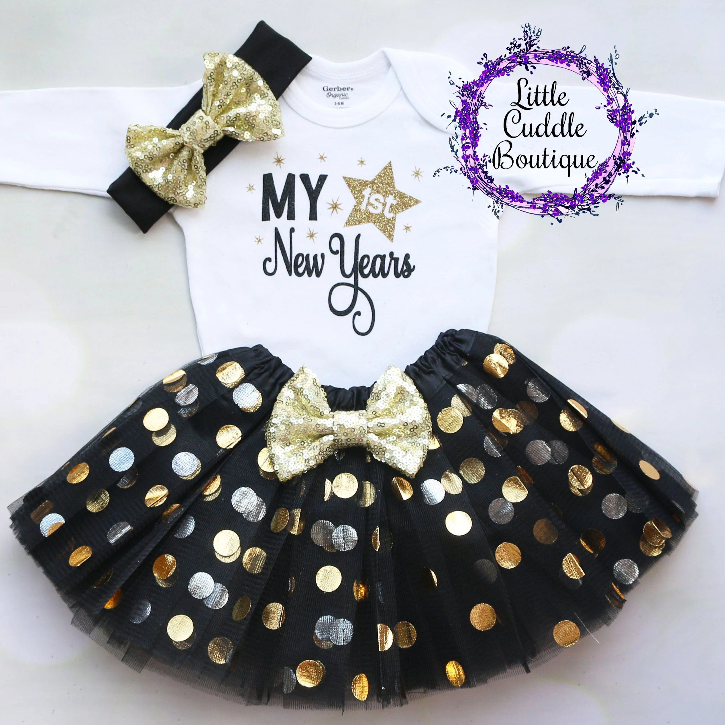 My First New Year S Tutu Outfit Baby Girl Holiday Outfits Baby Holiday Clothes Baby Outfits Newborn