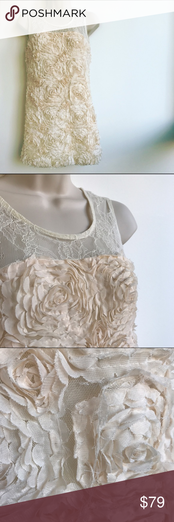 Just Cavalli Ivory Lace and Rosettes Dress This dress makes me think of a destination wedding or a beach honeymoon dress! A small section of the rosettes has a tear that is barely noticeable as it meshes into the pattern mix. Approximate measurements (laid flat): chest, 16