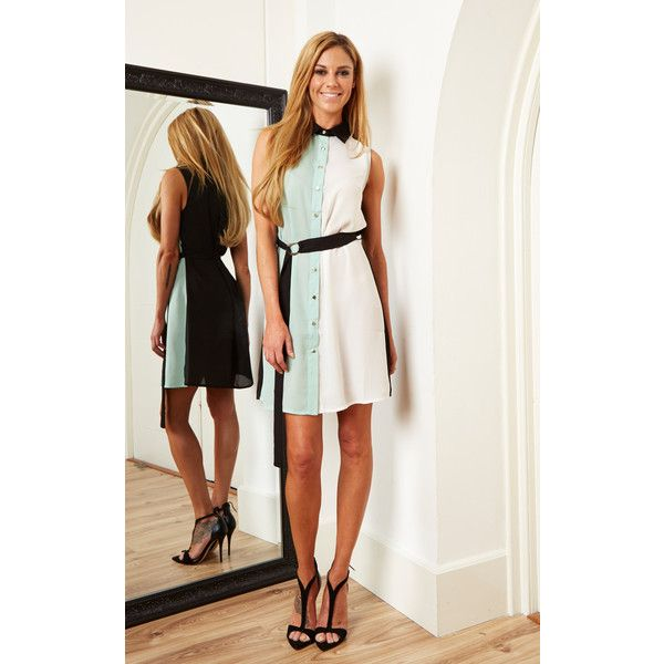 c763b9eb89398 Lilah Rose Mint and Cream Sleeveless Shirt Dress ( 45) ❤ liked on Polyvore  featuring
