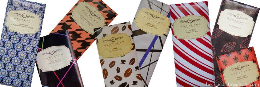 Variety of Mantuano Chocolates - Almonds, Lemon, Orange, Coffee, Ginger, Sea Salt, Plain Dark, and Earl Grey Tea