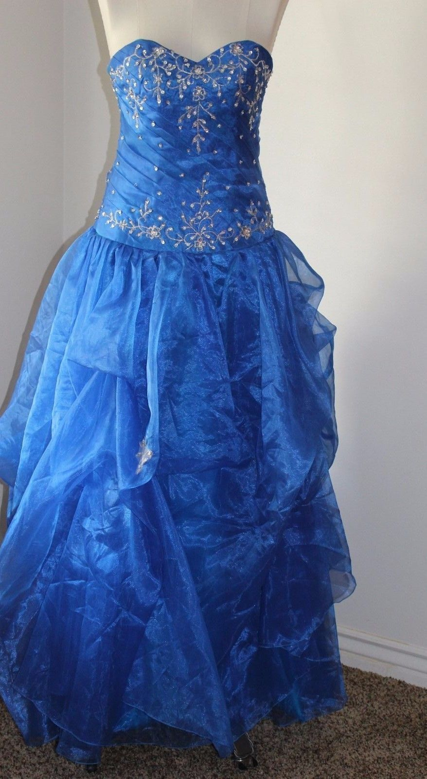 Royal blue strapless formal prom gown corset back size