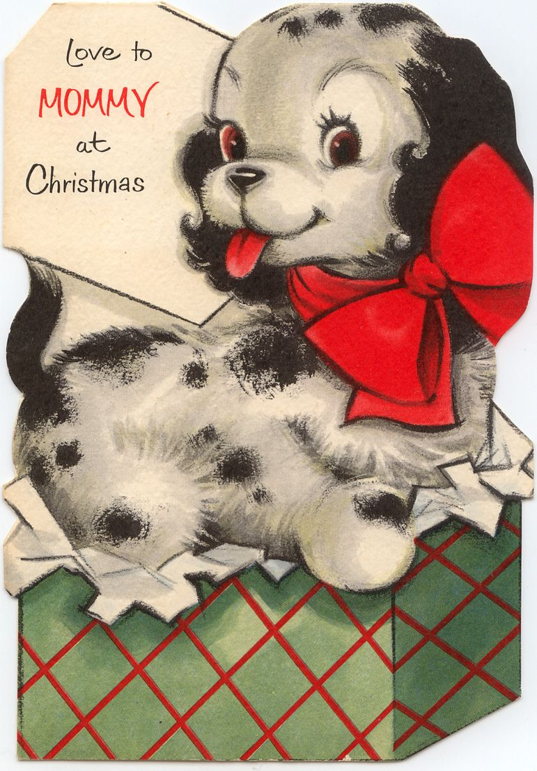 VINTAGE PUPPY CHRISTMAS CARD - love you Mommy puppy card | Xmas ...
