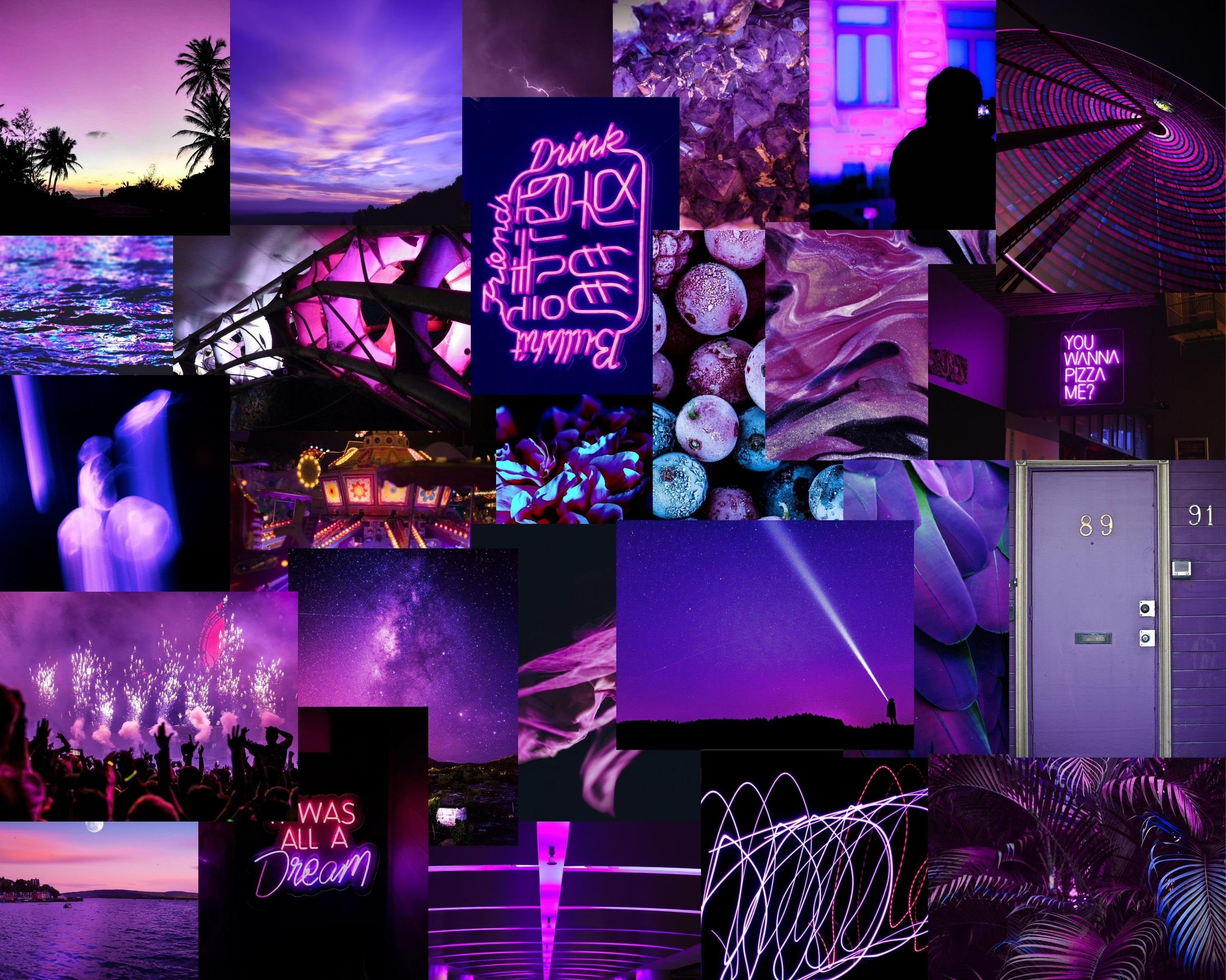 Purple Collage Kit Moody Collage Kit Collage Wall Art Etsy I