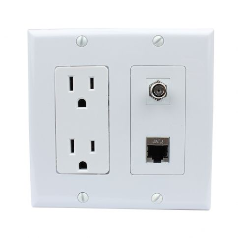 15 Amp Electrical Outlets And 1 Port F Type And 1 Port Shielded Cat6 Ethernet Decora Type Wall Plate Plates On Wall Electrical Outlets Wall