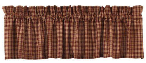 Country Primitive Cambridge Wine Red Window Valance Curtain