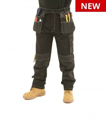 NEW APACHE HEAVY DUTY WORK CARGO MULTI POCKET CARGO TROUSERS KNEE PAD BLACK