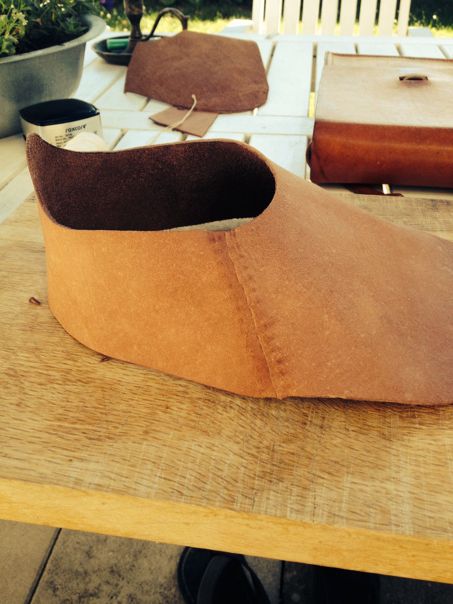 Outside of a medieval shoe. All is handmade.