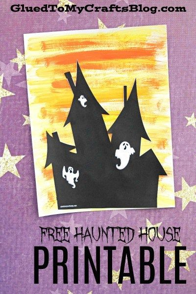 Watercolor haunted house kid craft haunted houses free watercolor haunted house halloween themed kid craft idea wfree printable template pronofoot35fo Gallery