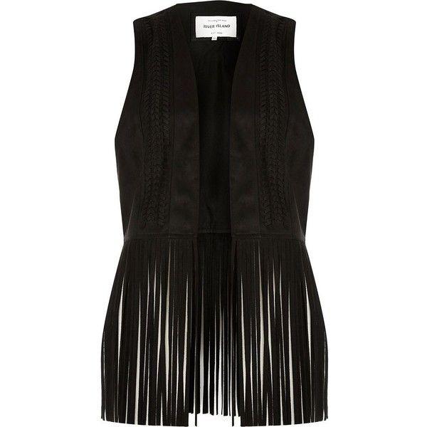 76d4853fdf River Island Black fringe faux suede vest ($90) ❤ liked on Polyvore  featuring outerwear, vests, jackets, vest, black, coats / jackets, women,  tall vest, ...