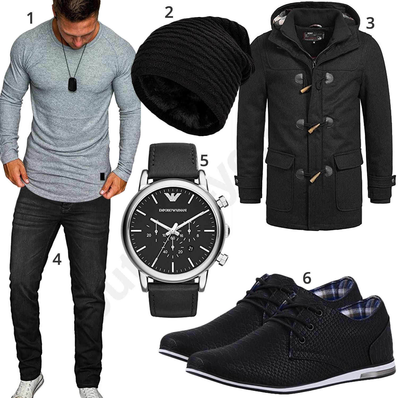 Style Schwarzer LongsleeveLook Grauem Mit Herren Mens Nw0mvnO8