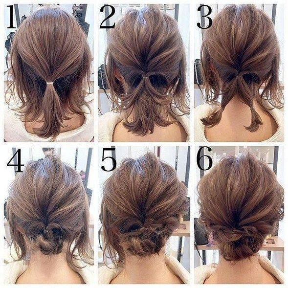 Easy Updos For Medium Hair In 2020 Short Wedding Hair Short Hair Updo Easy Hair Updos