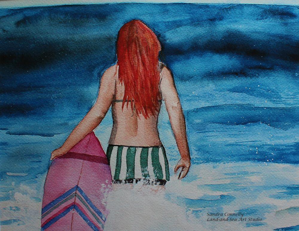Watercolor Print By Land And Sea Art Studio Femalesurfer