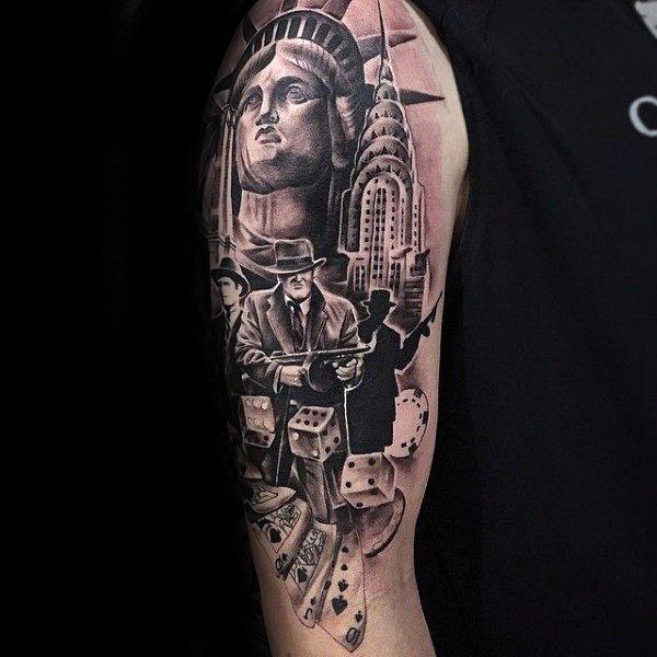 50 Gangster Tattoos For Men Mobster Design Ideas Gamblecardz
