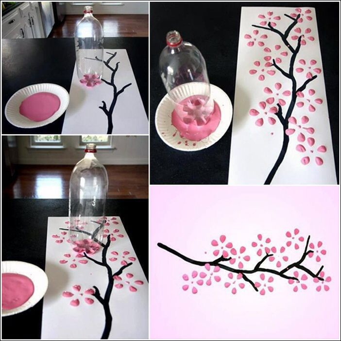 Using the base of a bottle to paint. Inexpensive way to add art....