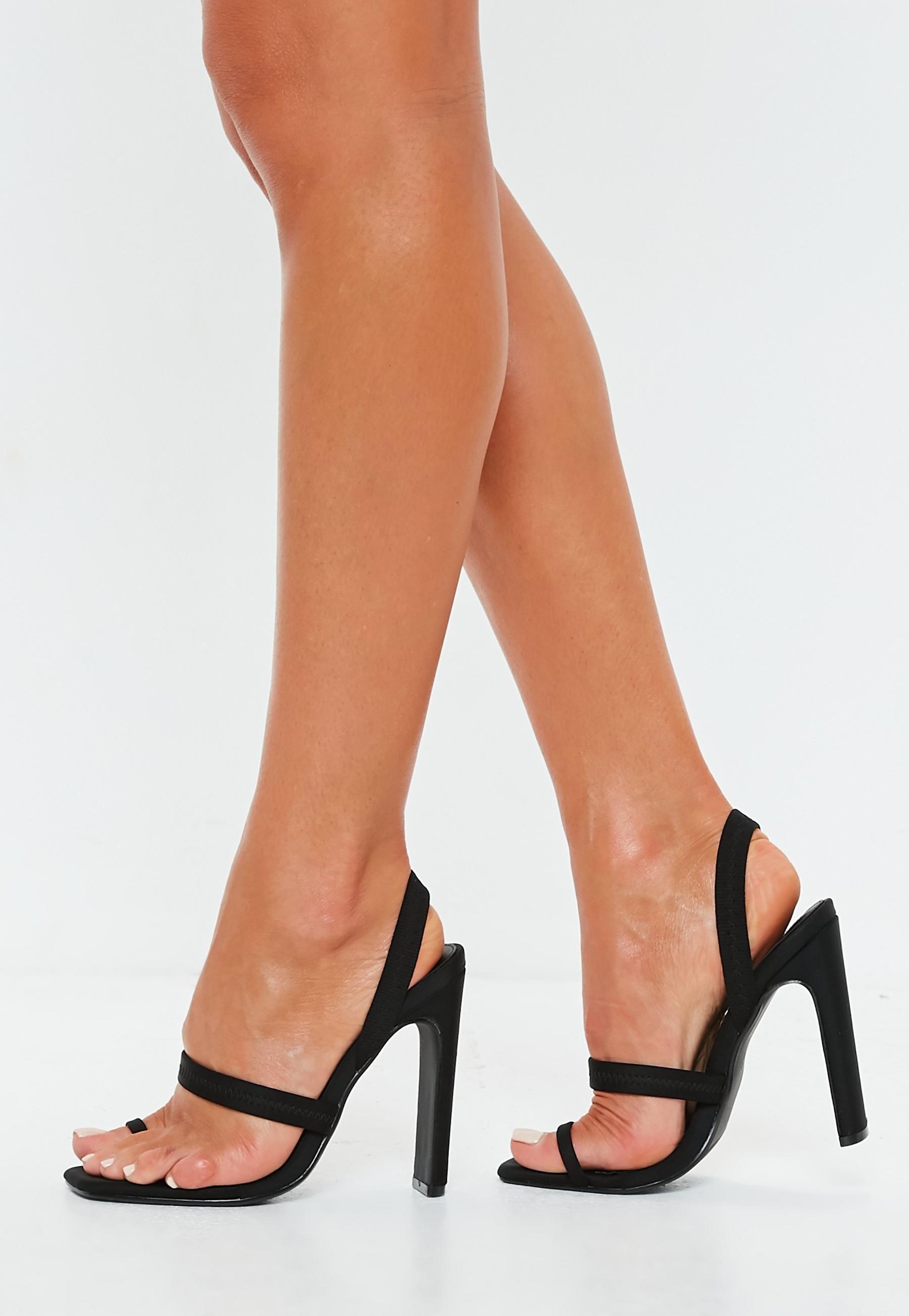 f2b4f91c2c3 Black Toe Post Illusion Slingback Heels