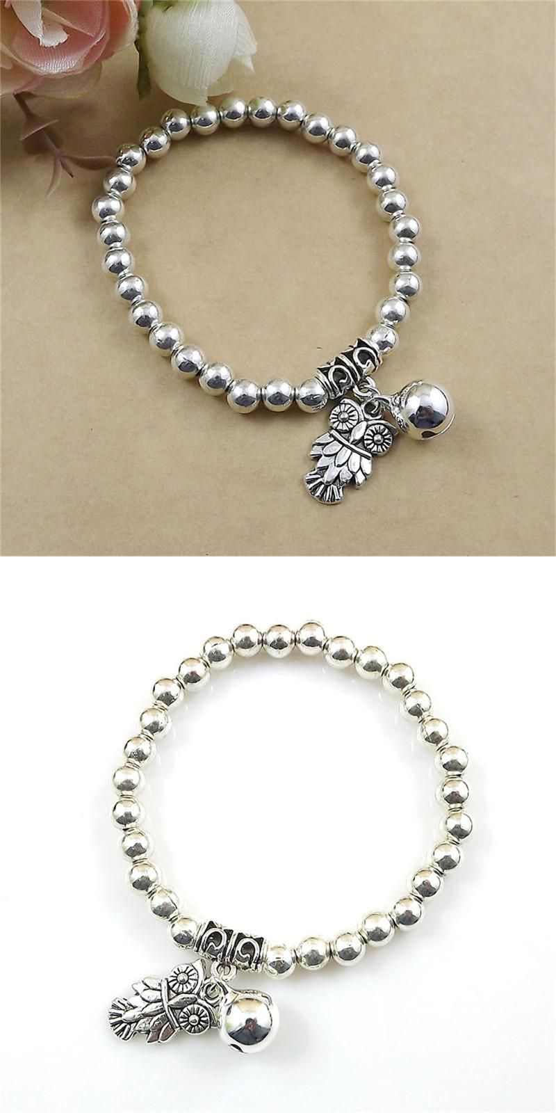 Visit to buy owl bird animal wisdom design silver tone beads