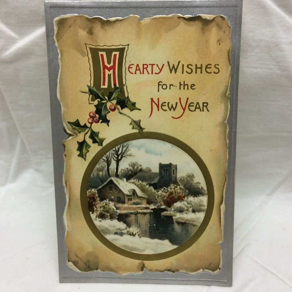 Vintage Embossed Postcard Hearty Wishes New Year Farm