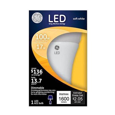 Ge 96838 17 Watt 100 W Equivalent A21 Medium Base E 26 Base Dimmable Soft White Indoor Led Bulb Bulb Led Shop Lights Dimmable Led Lights
