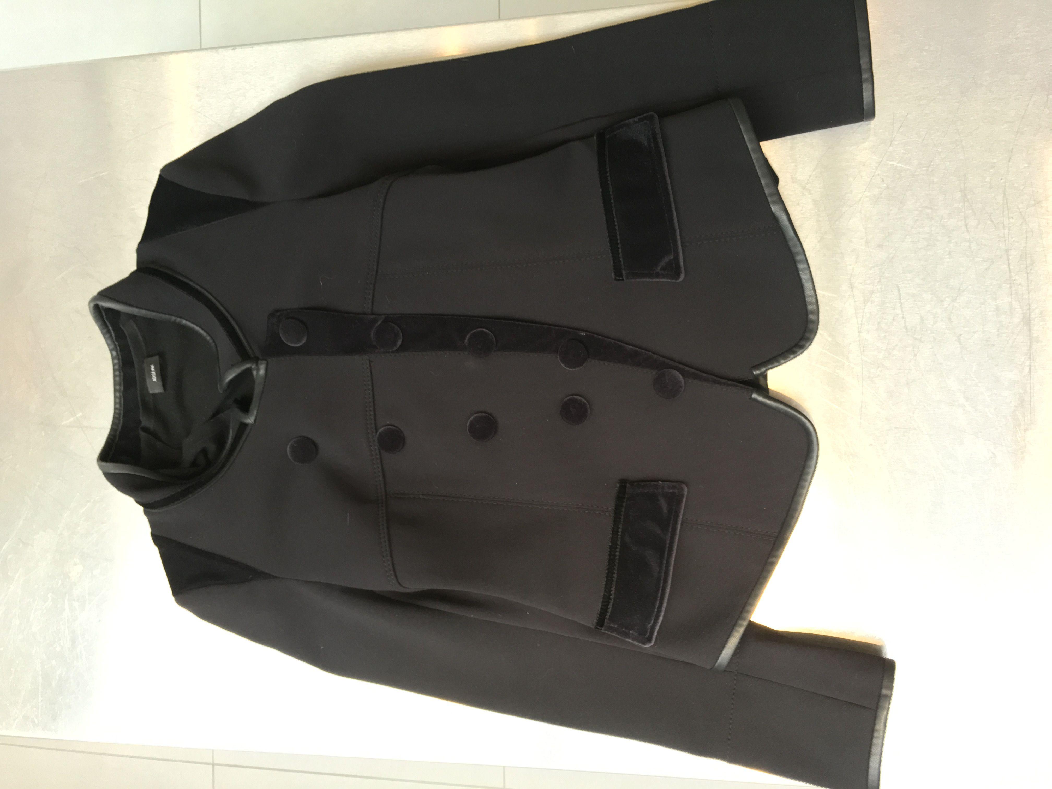 High Tech Jacket with leather and velvet trim  #fashion #blackjachet  www.fizzoflife.com