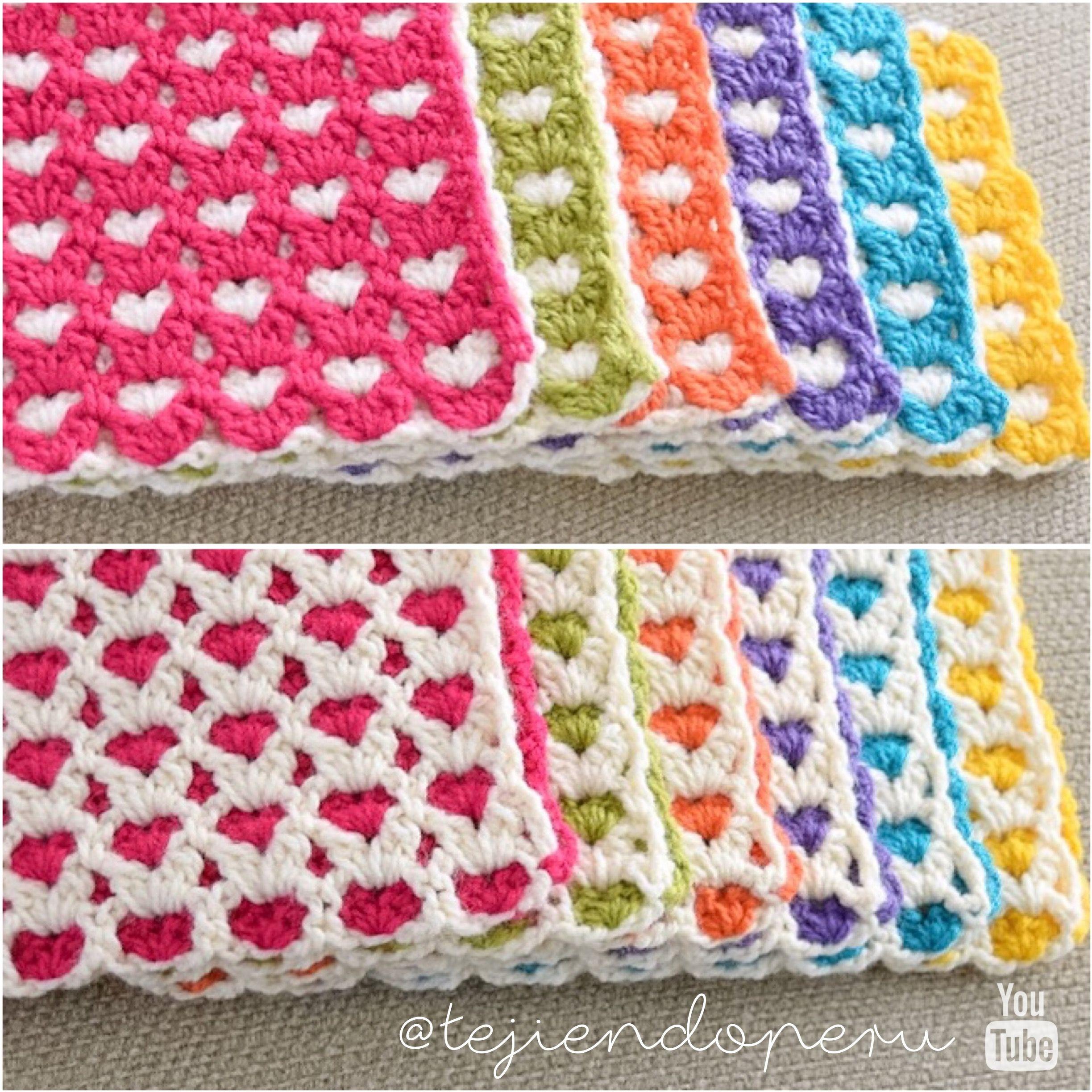 Bello punto reversible de corazones tejido a crochet: Amor eterno ...
