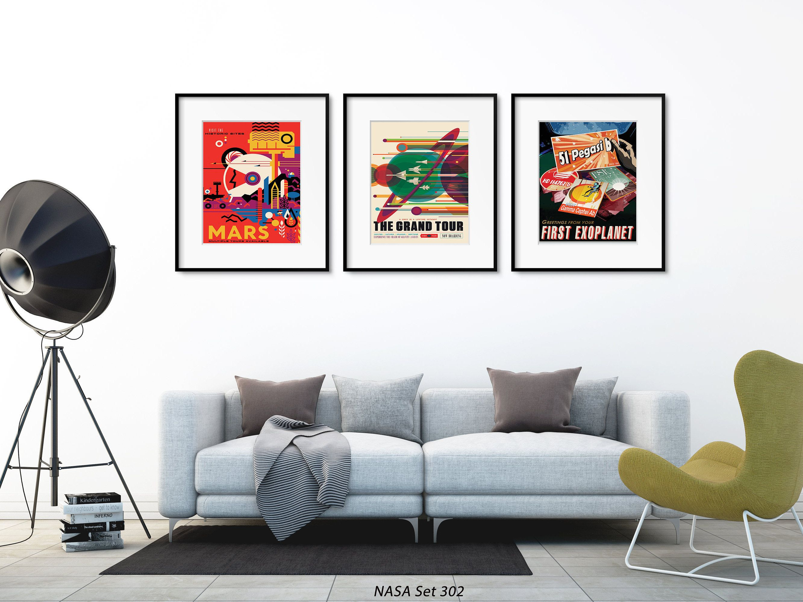 Nasa poster wall art space artwork set of 3 space prints