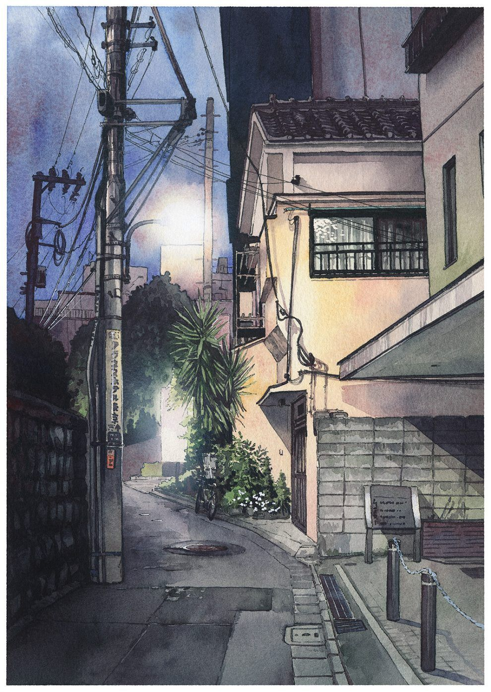 Watercolor Illustrations Depicting Night Streets Of Tokyo By Mateusz Urbanowicz Watercolor City Japan Watercolor Anime City