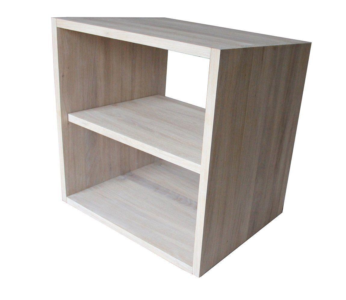 Cube De Rangement Avec Tag Re En Bois De Ch Ne Massif Blanchi  # Meuble Tv Bout De Lit