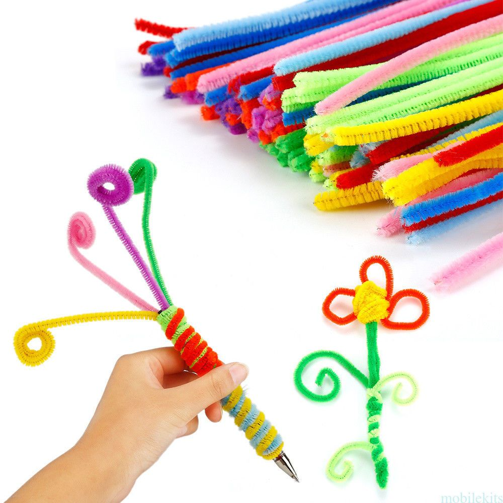 100x Mixed Colours Chenille Sticks Pipe Cleaners Assorted Colours DIY Craf*`