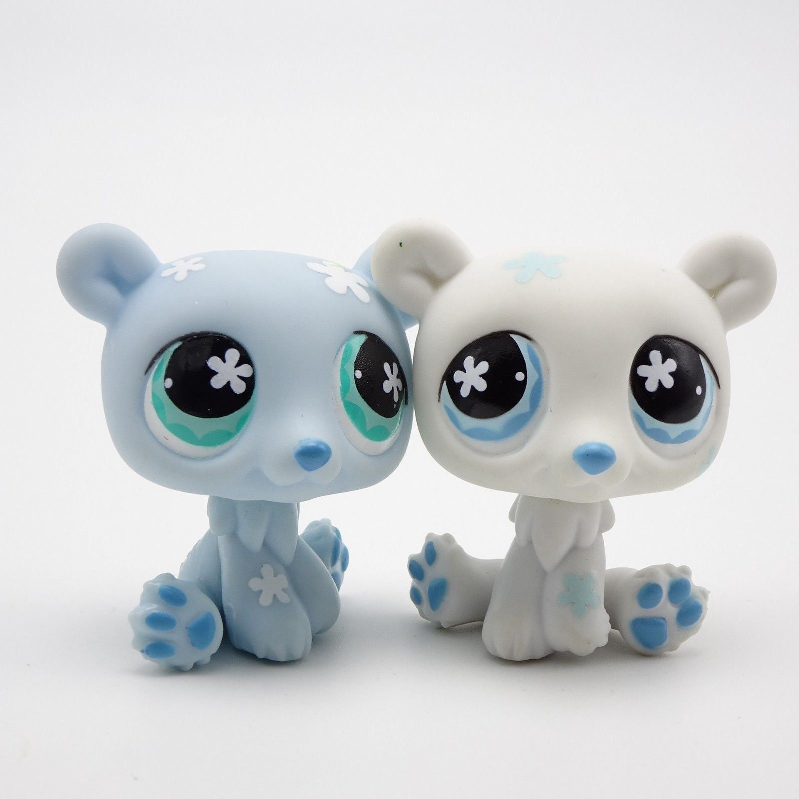 Littlest Pet Shop Polar Bear Pair 646 Blue 647 White Flower