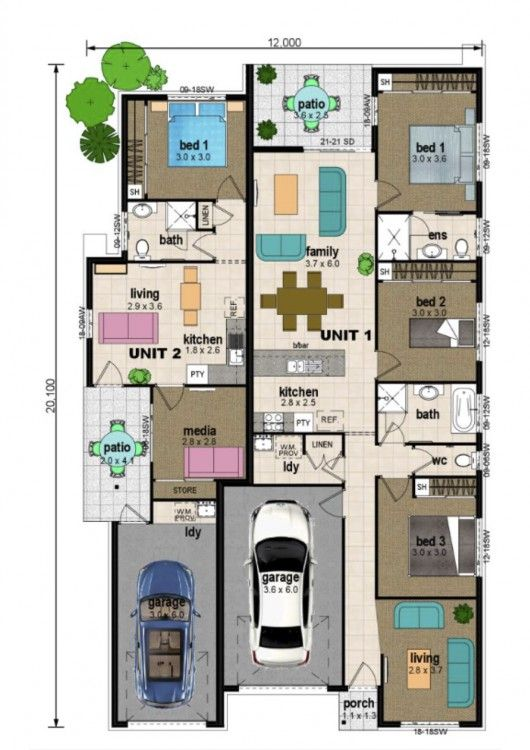 Dual Occupancy House Plans Google Search House Plans Family House Plans House Floor Plans
