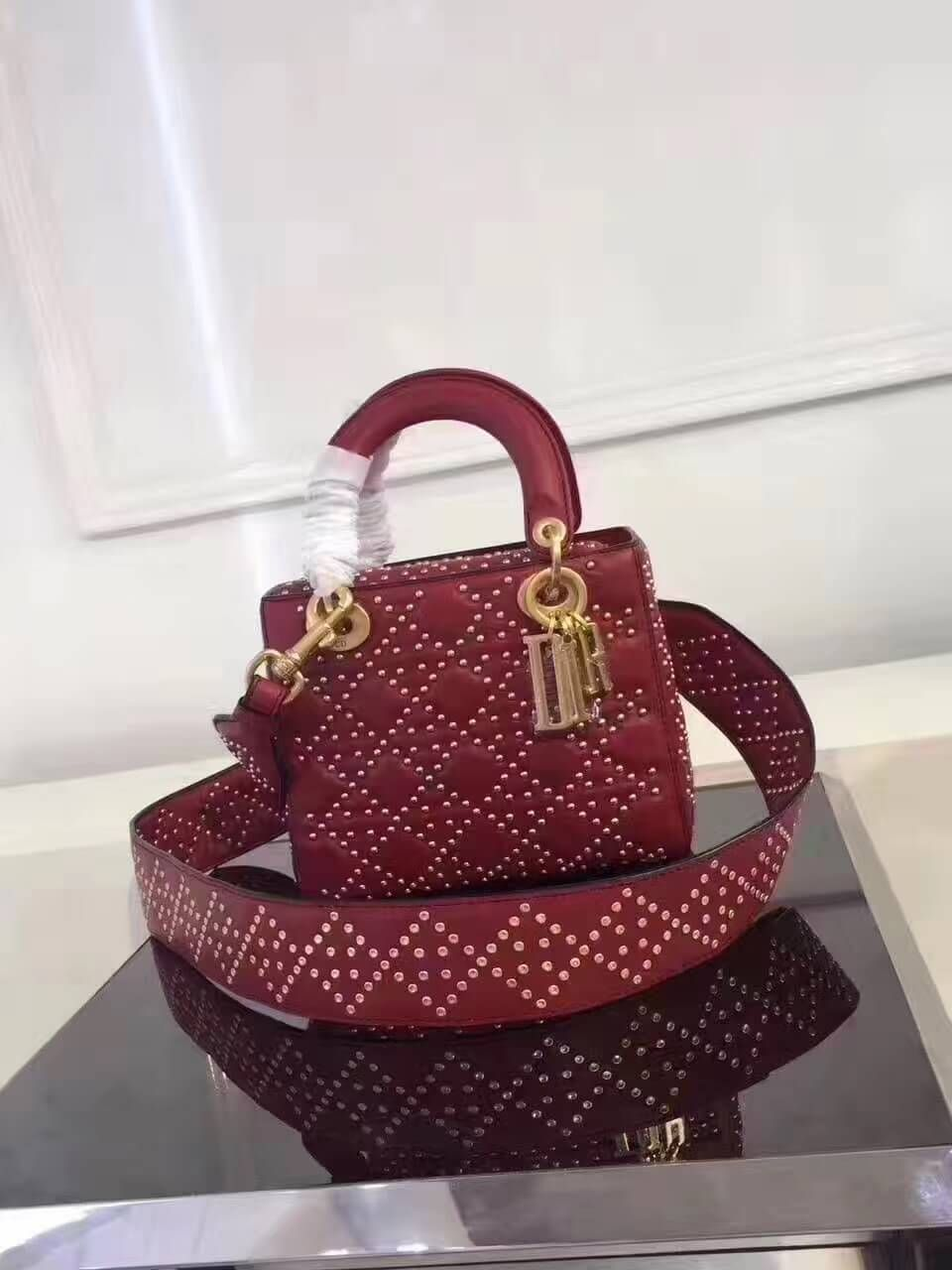 Dior Supple Lady Dior Medium Bag in Red Studded Calfskin 2017  6fb7ac75ee9c9
