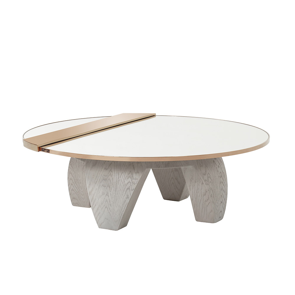 Kellys Update On The Classic Round Coffee Table Incorporates A Mirrored Top With Rose Gold Trim Detail Coffee Table Marble Coffee Table Dinner Tables Furniture