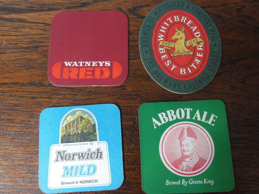 Small Lot British BEER  MATS / COASTERS  Vintage Abbot Ale Elgoods Ruddles