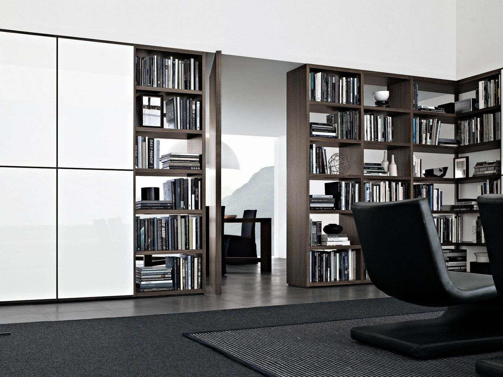 Sectional Wooden Bookcase Wall System Collection By Poliform
